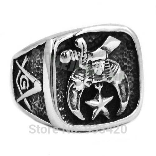 Free Shipping! New Design Masonic Biker Ring Stainless Steel Jewelry Freemasonry Skull Moon Star Motor Biker Men Ring SWR0409