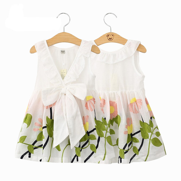 top popular 2017 new girls dresses flower printed dress big bow sleeveless cotton kids dresses cartoon kids clothing 2020