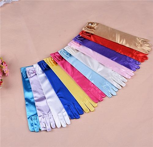 Girls Gloves Skirt Flower Kids Dresses Bowknot Cosplay Nylon Dance Stage Performance Pure Party Long Princess Gloves