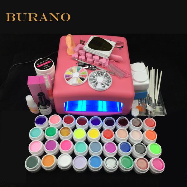 новый 2016 профессиональный гель для ногтей 36 цветов УФ-гель ногтей Набор инструментов ногтей маникюрный набор 008# розовый лампа