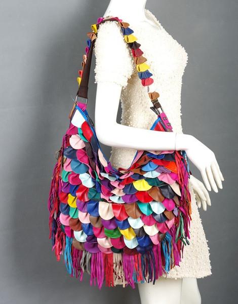 New arrival Bohemian 100% Genuine Leather Tassel Bags Fashion Tote Women Hobos Bag Fringe Ruffles Patchwork Handbags