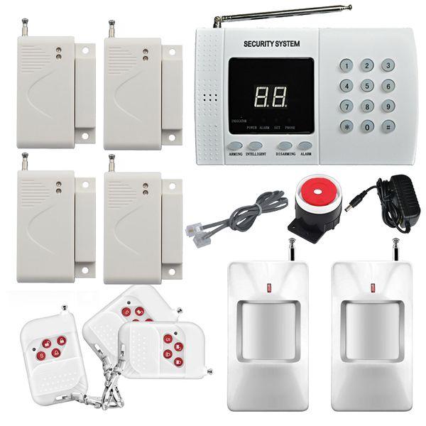 Wireless Home Security Burglar Alarm System Auto Dialing 4x Window/Door alarm sensor 2x PIR Motion Infrared detection alarm sensor Easy DIY