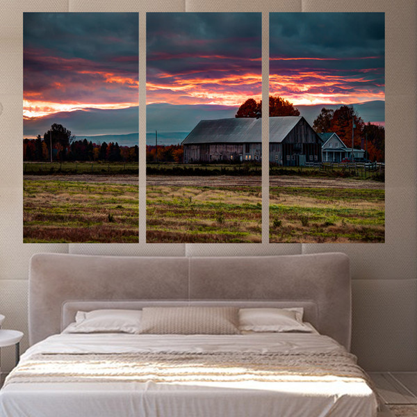 3 Paneles Lienzo Rosy Clouds Farm House Home Decor Wall Art Painting Lienzo Prints Cuadros para Sala de estar Cartel XA1112C