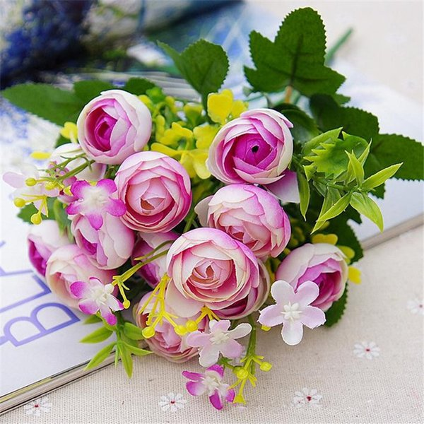 "Fake Spring Camellia Bunch 28cm/11"" Length Artificial Flowers Tea Rose Camellias 5 Stems per Bunch for DIY Bridal Bouquet Accessories"