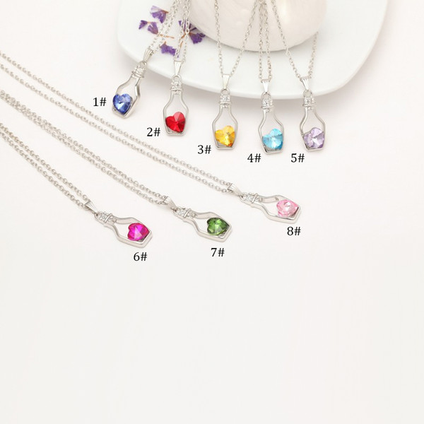 New Bottles And Love Crystal Pendant Necklace Cheap Diamond Alloy Necklace Sweater Necklace Locket Jewelry