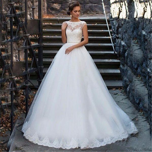 best selling Elegant Tulle Beading Sash Ball Gown Boat Neck Bridal Gown vestidos de novia Wedding dresses vestido de noiva princesa