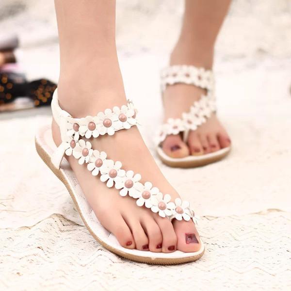 Pembe Beyaz Bohemia kadın Sandalet Tutam Yaz Çiçekler Düz Topuk Ayakkabı Tasarımcısı Lady Plaj Sandalet 669
