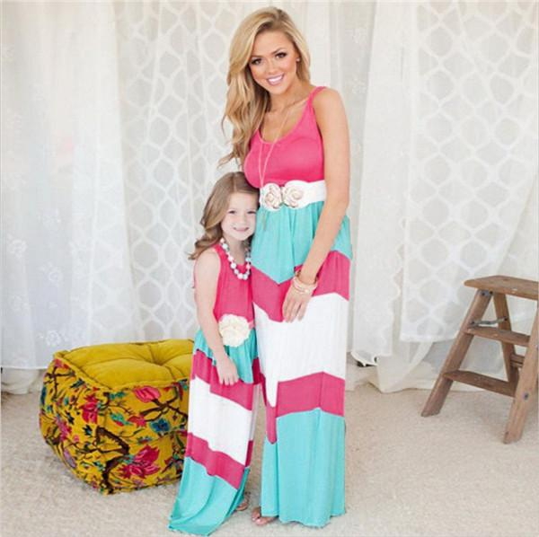 best selling mother daughter dresses Navy striped summer style mom and daughter clothes Sequin Anchor sleeveless dresses Polyester family