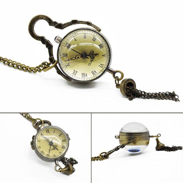 Atacado-Antique Vintage Glass Ball Touro Olho Colar de Pingente de Cadeia de Quartzo Relógio de Bolso Homens Mulheres Presente