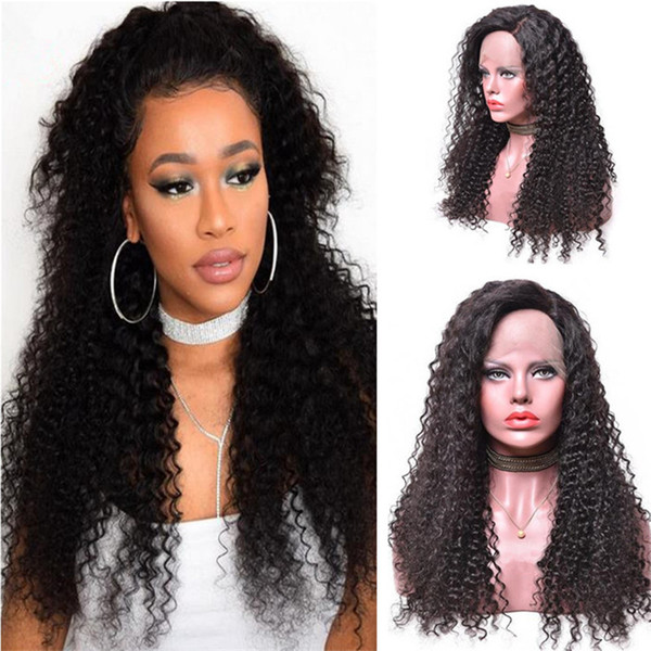 Kinky Curly Human Hair Wig Hot Sale 1B Virgin Indian Curls Lace Front Wig for Black Women Free Shipping