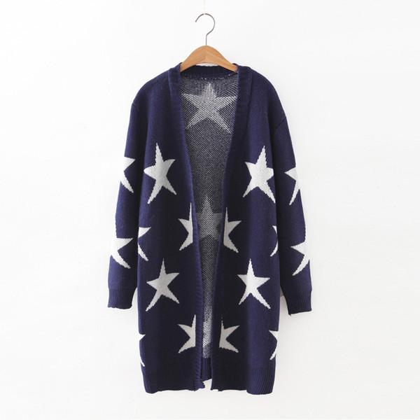 Al por mayor-2016 Nuevo Invierno Otoño largo Pull Femme Cardigans 3 colores bloque estrellas V cuello Pull Femme suéteres E271