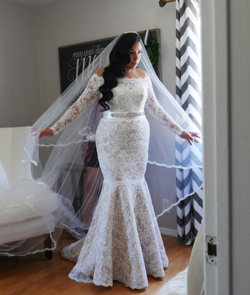 Encaje sexy 2017 árabe tallas grandes vestidos de novia de manga larga Sash sirena ilusión vestidos de novia vestidos de boda de la vendimia