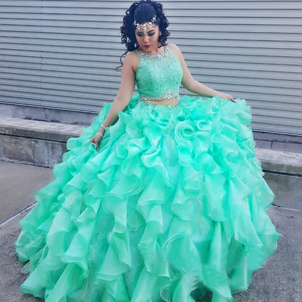 Gorgeous Two Pieces Quinceanera Dress Beade Jewel Neckline Lace Sleeveless Pretty Evening Party Gowns Fashion Puffy Pageant Dress Prom Dress