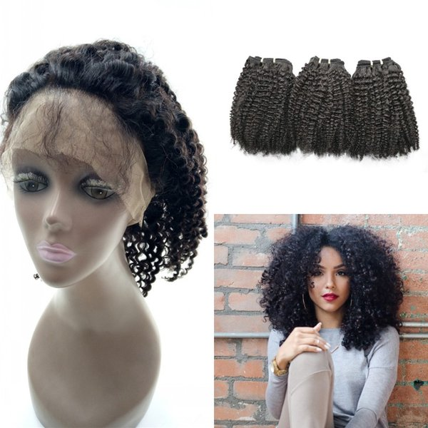 Pre Plucked 360 Frontal With 3Bundles Virign Peruvian Afro Kinky Curly Human Hair With 360 Lace Frontal G-EASY