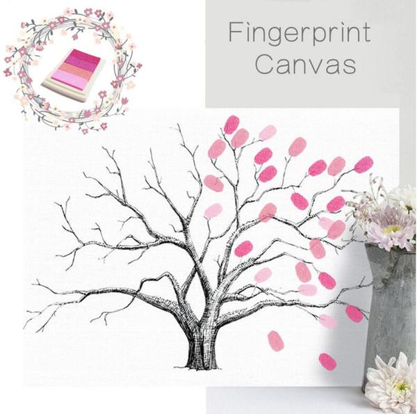 Fingerprint Tree Signature Canvas Painting Car Regalo di nozze Decorazione Nome e data Personalizzato Libro di registrazione per gli ospiti 30 * 40 cm