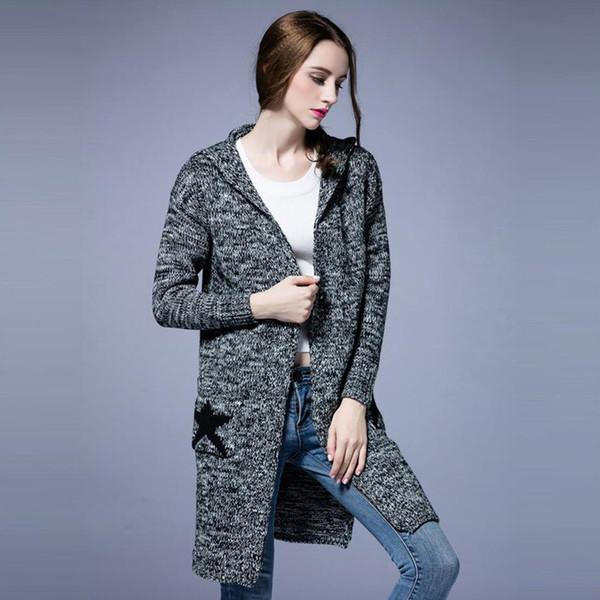 Plus la taille vêtement Femmes Automne Automne Hiver Cardigans épais Chandails Longs Tricotés Poches Étoiles Conception Manteaux