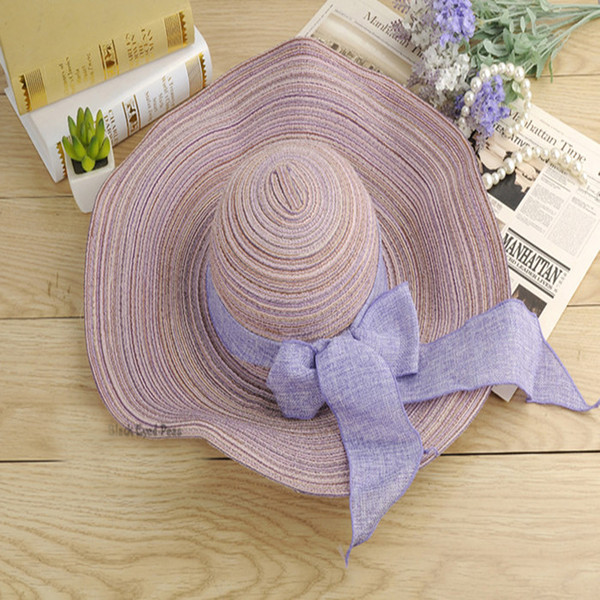 Wholesale Large Floppy Foldable Straw Hat Anti-UV For Ladies Boho Wide Brim Beach Sun Cap with Bow Summer Holiday Free Shipping