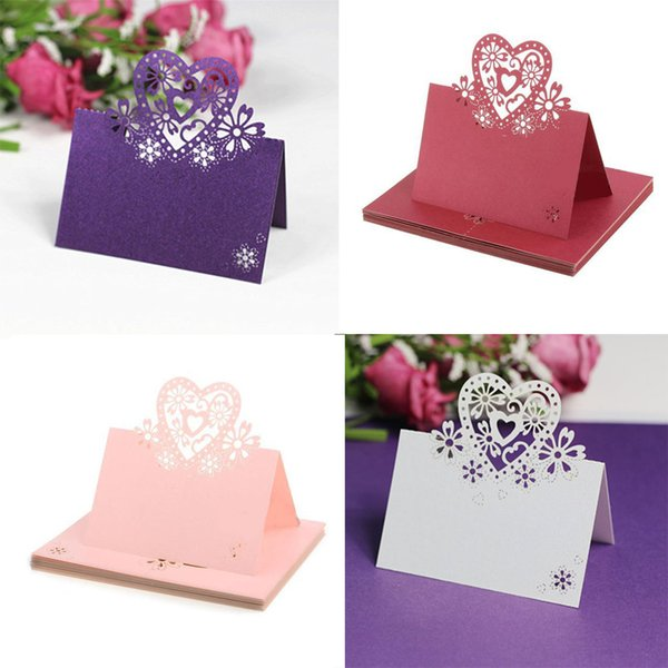 Wholesale fashion popular love heart lace wedding table decor place wholesale 12pcs fashion popular love heart lace wedding table decor place name cards cut junglespirit Choice Image