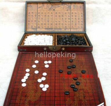 top popular Wholesale cheap Chinese Rare Go Game Set Leather Box Goban Board and Stones 2021
