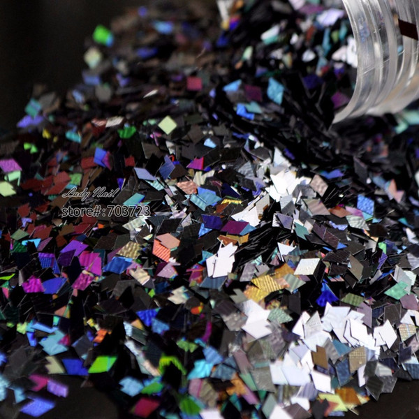 Großhandelsnagel-Kunst-Dekorations-Raute Diamant-Form Paillette Glitter 3D Scheibe Flitter DIY Nagel bearbeitet Laser buntes Schwarzes LB1000