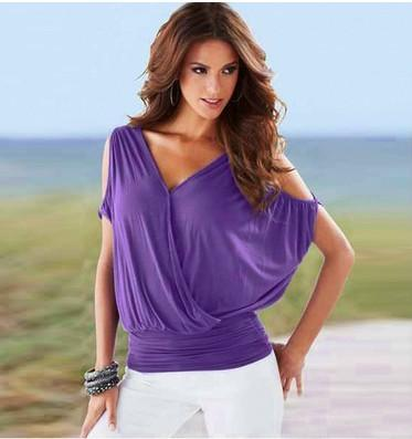 Sexy Women Tops Cotton Blend Off Shoulder Blouses V Neck Backless Panelled Women Tops Blouses Shirts For Summer
