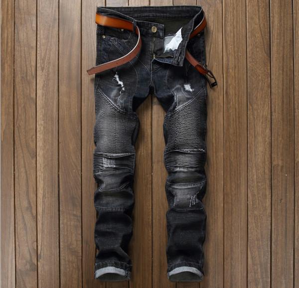 Wholesale- European American Style  men jeans  Men's denim trousers Slim Straight pop black gentleman zipper jeans pants