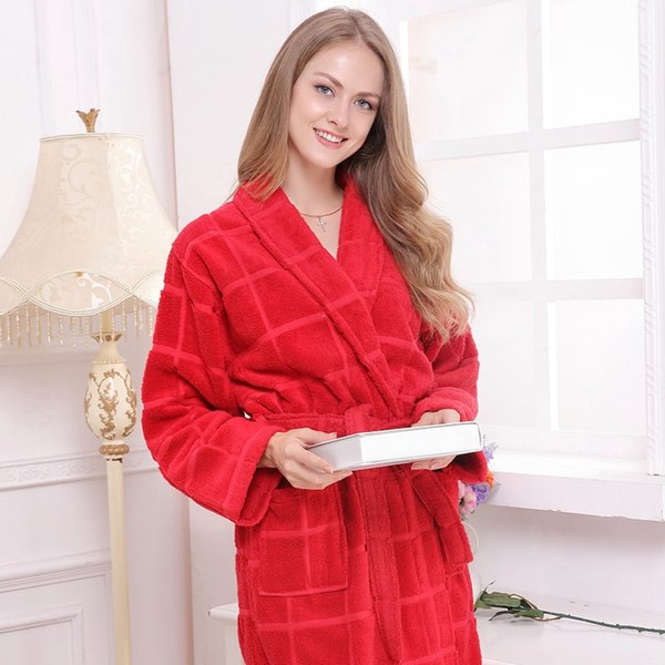 Cotton bathrobe blanket towel robe men sleepwear bathrobes for women girls thickening lovers medium-long robe plus size free shipping