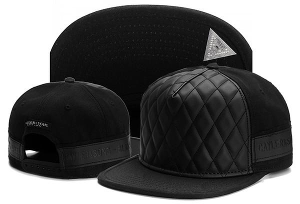 Moda Cayler Sons Snapbacks Marka Beyzbol Kapaklar Hip Hop Sokak Dans Şapka Gorras Erkekler Kadınlar Için Ayarlanabilir Kap Siyah deri kap kemik gorras