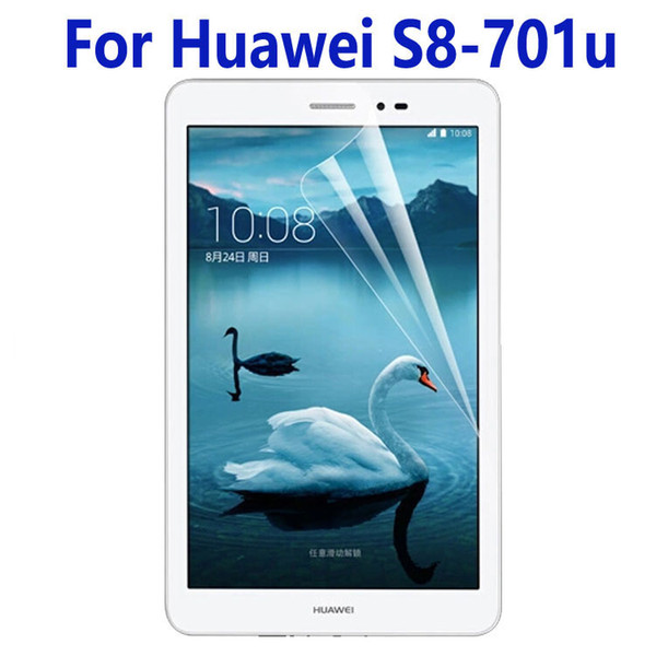 Wholesale- 2Pcs Clear Glossy LCD Screen Protector Protective Film For Huawei Mediapad T1 8.0 S8-701u S8-701w + Alcohol Cloth + Clean Cloth