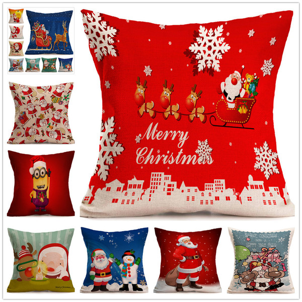 Christmas Pillows.17 Inch Christmas Pillows Case Xmas Pillow Cover Reindeer Elk Throw Cushion Cover Tree Sofa Nap Cushion Covers Santa Claus Home Decor C2669 Kids
