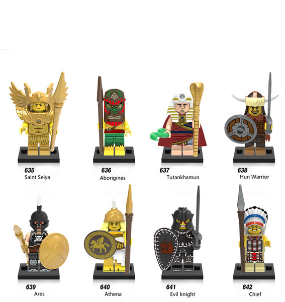 480pcs/lot X0163 Super Hero Marvel Saint seiya Aborigines Hun Warrior Ares Athena Evil Keight Chief Building Blocks Baby Toys