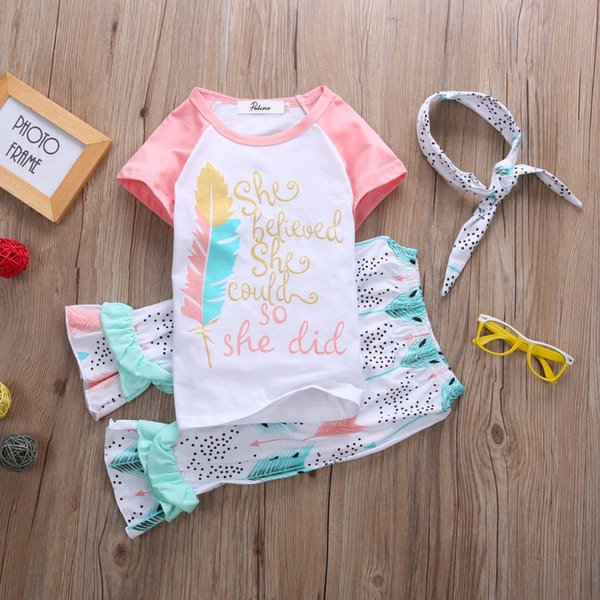 Kids girls clothing set inspirational letter print pink feather T-shirt arrow ruffles trousers dot handband 3Pcs outfits 6M-3Y Baby Toddler