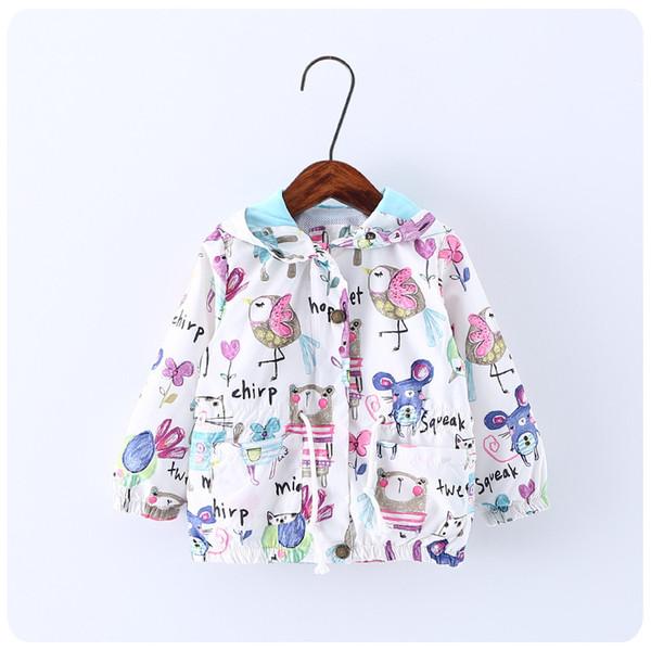 best selling Bird Cartoon Graffiti Children Coat 2017 Autumn Spring Fashion Cute Jacket for Girls