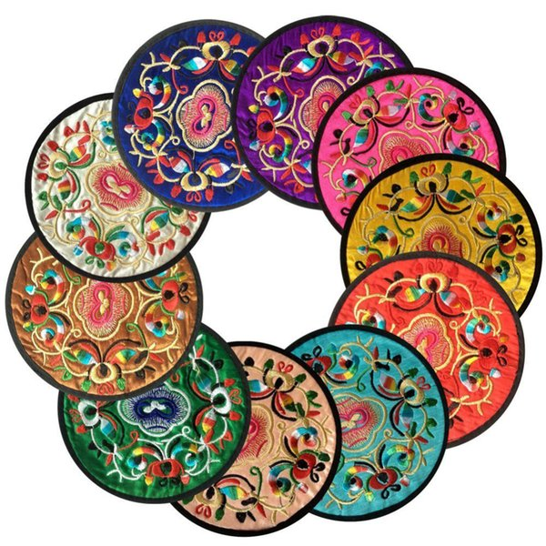 500Pcs Non-woven Embroidery Non-slip Placemat Cup Mat Pads Coffee Mug Drink Coasters Dining Table Placemats Desk Accessories
