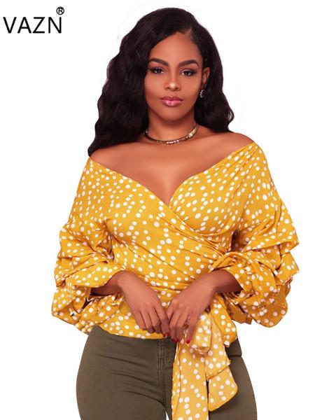 VAZN 2017 Neue Stil Marke Mode Lässig T-Shirt Volle Hülse Druck T-V-ausschnitt Sexy Frauen T-stück 4065 q171118