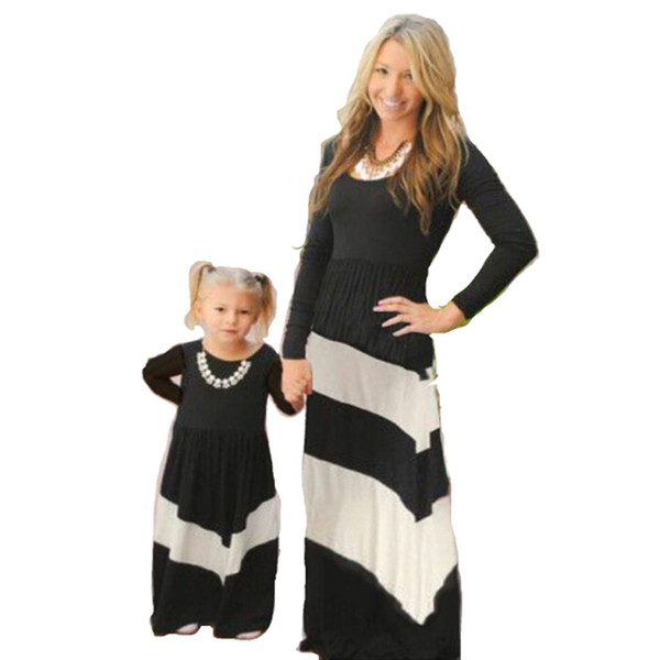 mother and daughter clothes family matching dress baby stripe black white clothing girl long skirt dress children casual fashion B00005