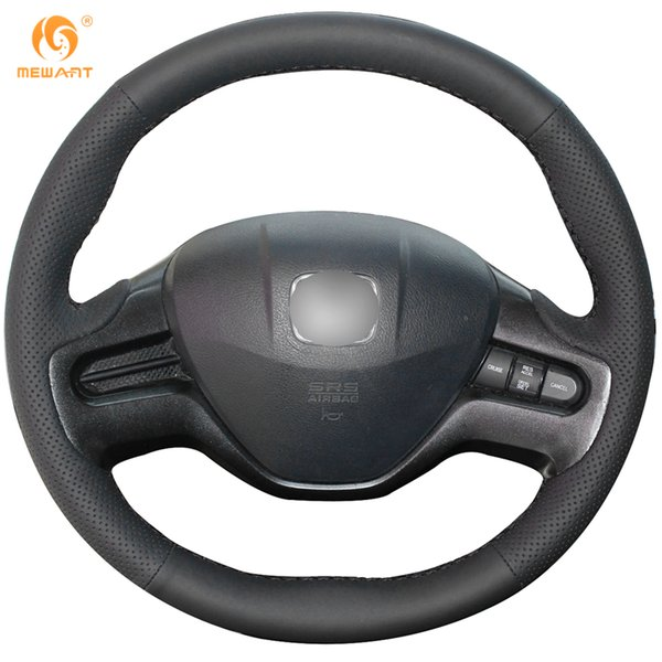 Mewant Black Genuine Leather Car Steering Wheel Cover for Honda Civic Old Civic 2006-2009