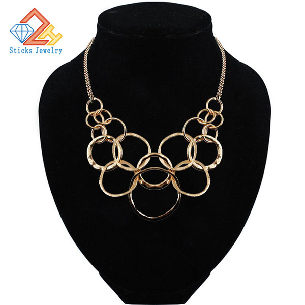 2019 New metal necklace fashion female brief paragraph clavicle necklace Personality geometric fashion necklace gift