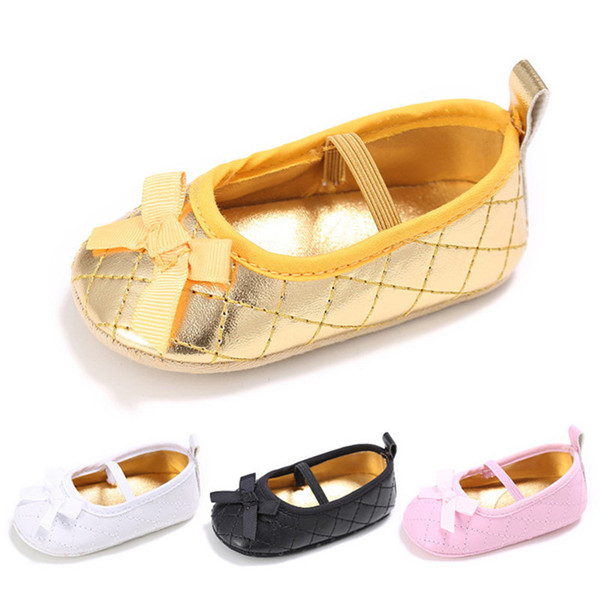 Baby Girls Quilted PU Princess Moccasins Prewalkers Infants soft sole shoes Shiny first walking shoes 3sizes 4colors for girls 0-3T