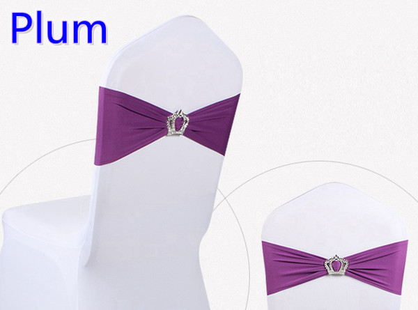 Plum colour Crown buckle lycra sash for wedding chairs decoration spandex band stretch bow tie lycra ribbon belt on sale