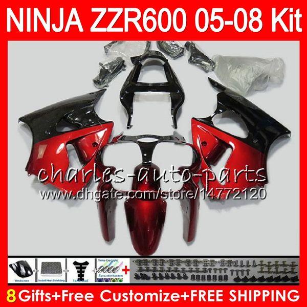 8Gifts тела 23Colors для Kawasaki ниндзя с zzr600 05 06 07 08 32NO32 красный черный 600CC СЗР-600 zx600 инструкция по 05 СЗР 600 2005 2006 2007 2008 обтекатель комплект
