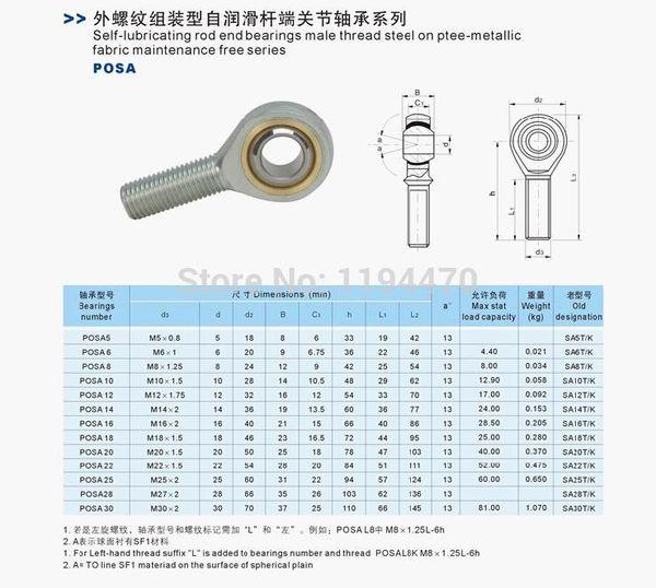 Male Metric Threaded Rod End Joint Bearing POSA3 SA3T//K 3mm 1 PCS