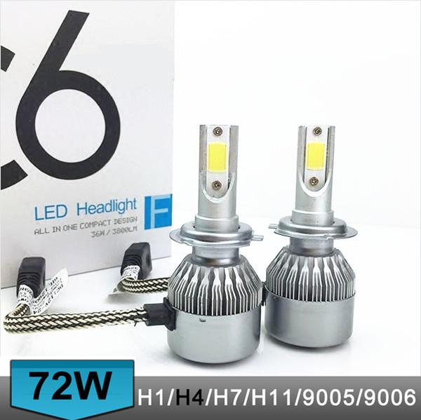 best selling C6 2pcs lot Car Headlights 72W 7600LM Led Light Bulbs H1 H3 H7 9005 9006 H11 H4 H13 9004 9007 Automobiles Headlamp 6000K Fog Lamps