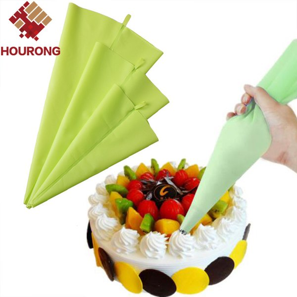 Wholesale- Hourong 1Pc Green Silicone Piping Bags DIY Reusable Icing Fondant Cake Cream Nozzle Decorating Set Pastry Baking Tool