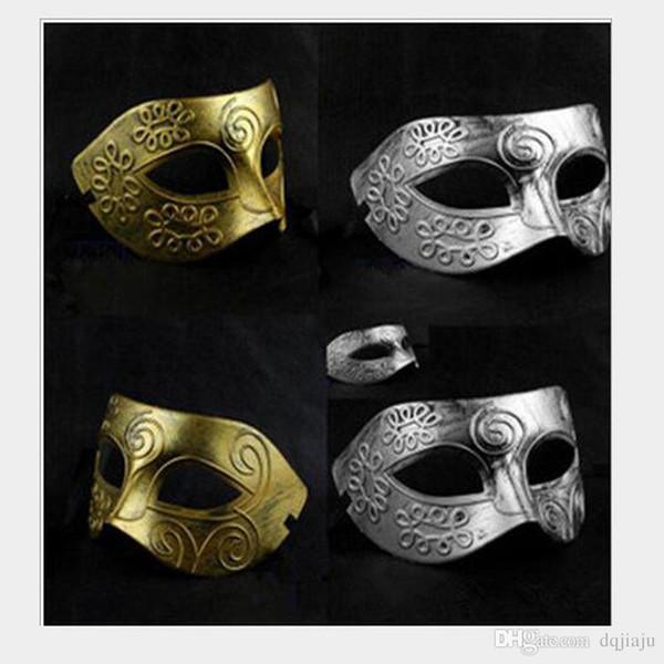 Máscara de fiesta de disfraces Máscaras de disfraces de gladiador grecorromano de los hombres de Halloween Máscara de fiesta de plata dorada vintage Máscara de carnaval