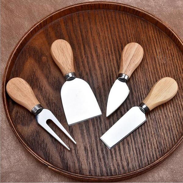 top popular 4pcs set Cheese Useful Tools Set Oak Handle Knife Fork Shovel Kit Graters For Cutting Baking Chesse Board Sets ZA1200 2019