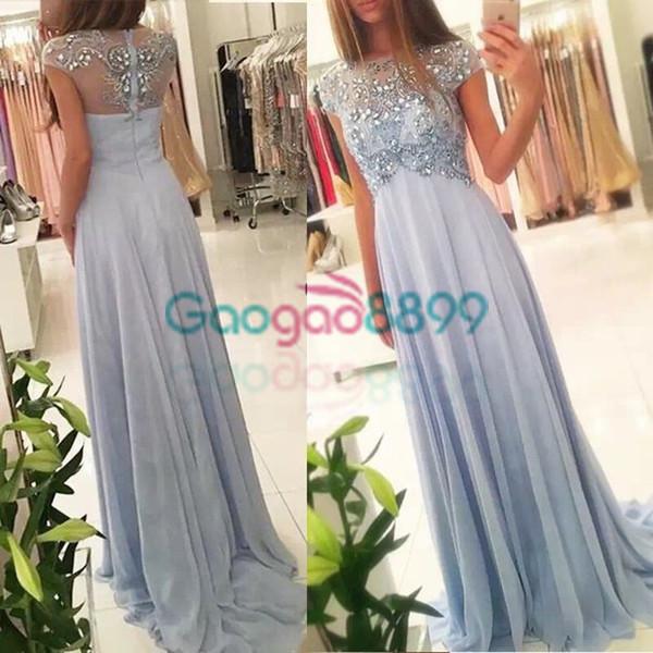 2019 vestidos de fiesta Elegant Evening Dress Short Sleeves dusty blue Aline Beaded robe de soiree prom formal party dress