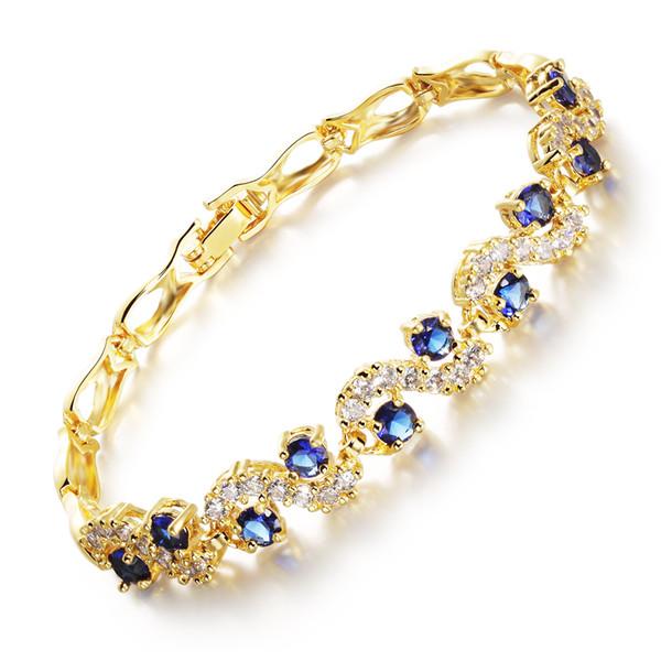 Vente chaude Femme Blanc / Bleu Cubique Zircon Chaîne Lien Bracelet Accessoires De Mode 18 K Plaqué Or Femmes Bijoux De Mariage MHKS459