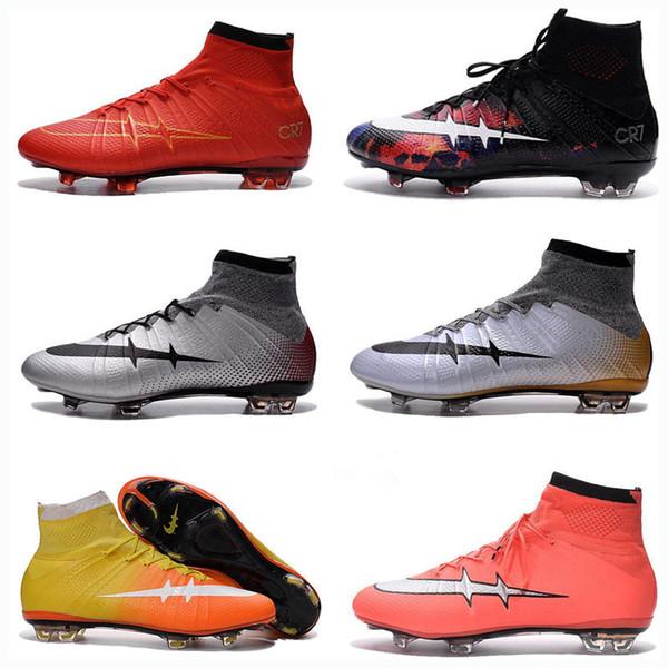 Nouveau 2018 Ronaldo CR7 Soccer Shoes 2015 Nouveaux chaussures de football  Mercurial Superfly FG Hommes Chaussures