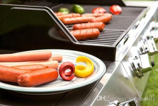 2pcs//set Durable Manuel fantaisie saucisse spirale Barbecue Hot Dog Trancheuse Gadget